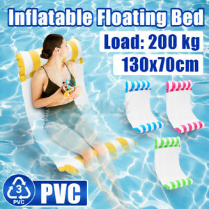51'' Inflatable Floating Water Bed Hammock Float Pool Seat Lounge Pad Swimming