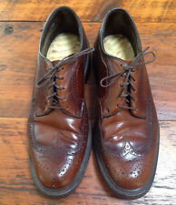 Vintage Brown Pebble Grain Leather Made in USA Dapper Dress Wing Tips Shoes 8