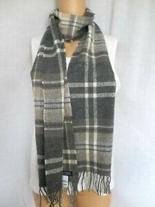 Foxford Irish Classic Gray Tartan Scarf 100% Lambs Wool 72x12 NEW WTH TAGS