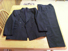 TURKISH ALPHAN GRAY 2 PIECE DOUBLE BREASTED SUIT,STRIPED, 40R?, MADE IN TURKEY