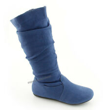 5a532c3b604 Women s Boots Slouch Below The Knee High New Faux Suede Flat Heels Booties  Size