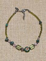 Artisan Silver Tone Green Nephrite Glass Lampwork Bead Bracelet Anklet