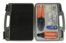 Coaxial tool kit: ratchet crimping tool/rotary cable stripper/coax cable cutter