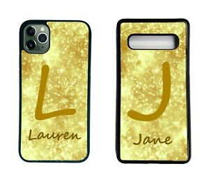 Personalised Gold name Phone Case initial Letter fits iPhone Samsung A S Cover