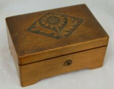 Vintage 2 Tunes Music Box, Wood, Intact Glass Viewing, Flower Carving Thorens?