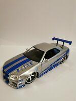 1/24 fast and furious 2002 Nissan Skyline GTR R34 Jada Diecast Model Car