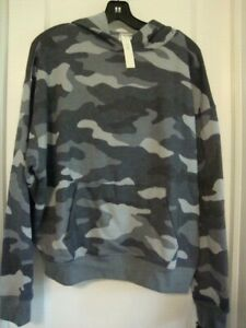 VICTORIAS SECRET PINK HOODIE GRAY CAMO SMALL OVERSIZED NEW WITH TAGS