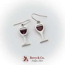 Figural Wine Glass Dangle Earrings Garnet Sterling Silver