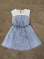 Primark Denim Co Blue Skater Dress With Lace Shoulders Size 10