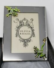Olivia Riegel Swarovski Crystal Frogs on Stainless 4x6 Photo Frame - New in Box