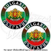 "BULGARIA Bulgarian Flag-Coat of Arms Vinyl Bumper Stickers, Decals 75mm (3"") x2"