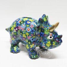POMME PIDOU - exklusive Spardose - Keramikfigur DINO WINSTON türkis / Blumen