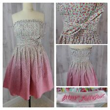1990s Vintage Dress Betsey Johnson~Strapless Cotton Floral Ombre Aline Ruched 4