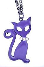 Molto particolare smalto viola gatto con collana cristallo