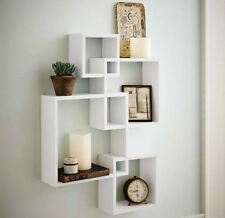 Decorative White Floating Wall Wood Shelves Shelf Display Home Decor Set of 4