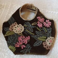 Vintage Ladies Bag By Accessorize,  Velvet Decorated With Beaded Appliqué