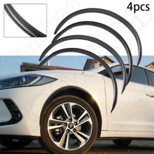 4pcs Universal Carbon Fiber Car Wheel Eyebrow Trim Fender Rubber Protector Kit