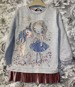 Girls Age 5-6 Years - Pretty Long Sleeved Tunic Top - Excellent Condition