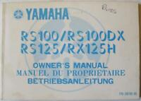 YAMAHA RS100/RS100DX RS125/RX125H Motorcycle Owners Handbook 1981 #1Y8-28199-85