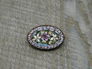 Beautiful Antique Base metal Italian Micro Mosaic Flower Oval Brooch,2.4cm