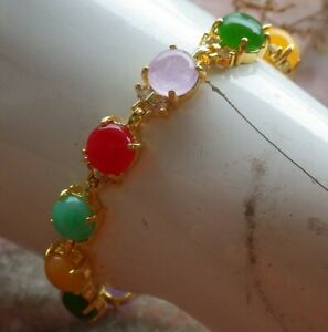 Yellow Gold Plate JADE Cabochon Bead Bangle Bracelet Diamond Imitation 324129