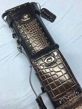 Vincitore Genuine Embossed Croc Leather Black Brown Combo 3 Butt 5 Shaft 3X5
