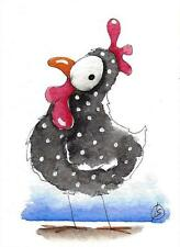 ACEO Original watercolor painting whimsical farm bird illustration chicken Mary