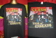 """THE CLASH- THIS IS ENGLAND- CLASSIC 1985 7"""" SINGLE PRINT T SHIRT- BLACK-  LARGE"""