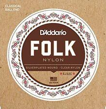 D'Addario Folk Nylon Guitar Strings, Ball End, Silver Wound/Clear Nylon Trebles