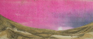 Vintage Handcrafted Pinted Sand Art Work Abstract Landscape Collage