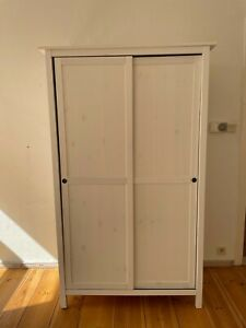HEMNES Kleiderschrank mit 2 Schiebetüren, weiß gebeizt120x197 cm