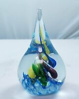 M Design Art Handcraft Glass Rainbow Spiral Tear Drop Art Glass Paperweight S...