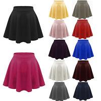 New Women Mini Skirt Cotton Stretch High Waist Skater Flared Pleated Solid Dress