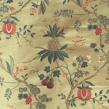 "SCALAMANDRE ""LA PEROUSE"" LAMPAS BROCADE FABRIC FRAGMENT IN CELADON MULTI"