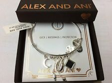 Alex and Ani Puka Shell Cluster Bangle Bracelet Shiny Silver NWTBC