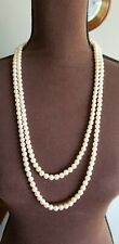 "60"" Long Faux Pearl Necklace Made in Korea"