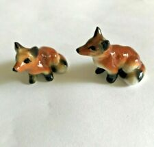 Mini Set Of 2 Bone China Fox Foxes Figurines