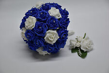 Royal Blue and White Wedding Bouquet with Buttonhole - Bride, Groom, Bridesmaid