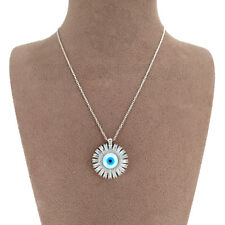Mother Of Pearl Evil Eye Zircon Disk Pendant Rhodium Plated over 925 Silver