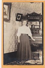 Real Photo Postcard RPPC - Woman at Pedal Organ - Music Musician