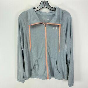 Under Armour Womens UA Tech Jacket Large Light Gray Silver Lightweight Full Zip
