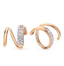NEW Russian Solid Rose Gold Earrings 14K 1.65g fine jewelry zirconia USSR Russia