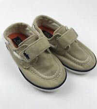 Polo Ralph Lauren Toddler Boy 5.5 Sander EZ Shoes Loafers Tan Canvas Top Siders