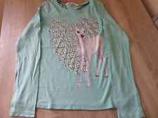 GIRLS PRETTY SPARKLY H&M 'YOU AND ME FOREVER' DEER LONG SLEEVE TOP 10-12 YEARS