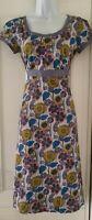 Womens Seasalt Blue Floral Cotton Short Sleeve Tie Belt Fit And Flare Dress 8Vgc