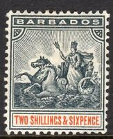 Barbados1892 black/orange 2/6d perf 14 crown CA watermark mint SG114