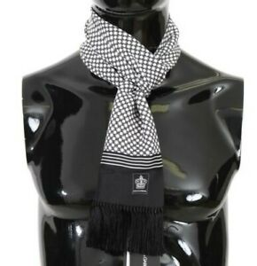 DOLCE & GABBANA Scarf Black White Dot Print Crown Silk Shawl 16cmx140cm