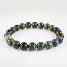 TOP EXCLUSIVE 97.05 CTS NATURAL ROUND SHAPE RICH MOSS AGATE BEADS BRACELET