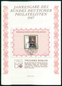 GERMANY BDPH 1987 BLOCK-GEDENKBLATT 9 WEIHNACHTEN CHRISTMAS NOEL NAVIDAD u508