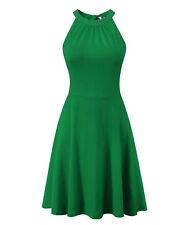 BIKATU Women Off Shoulder Halter Dress Sleeveless Summer Casual Cotton Sundress